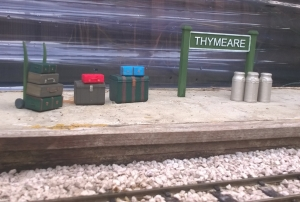 Thymeare Station Sign, Luggage Pack and Milk Churns